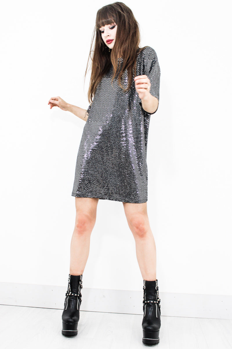 Born To Boogie Silver T-Shirt Dress