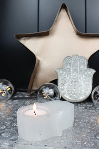 Hamsa Selenite Tealight Holder
