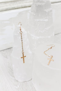 Gold Chain Cross Earrings