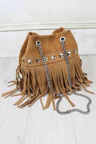 Route 66 Tan Fringed Bag
