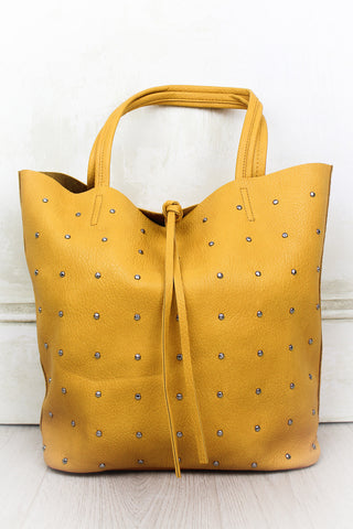 Ace of Spades Mustard Studded Tote