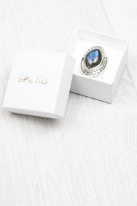 Sterling Silver Labradorite Shield Ring