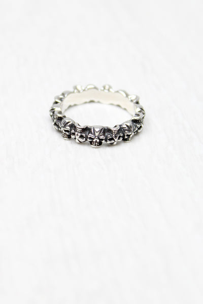 Sterling Silver Band of Skulls Ring