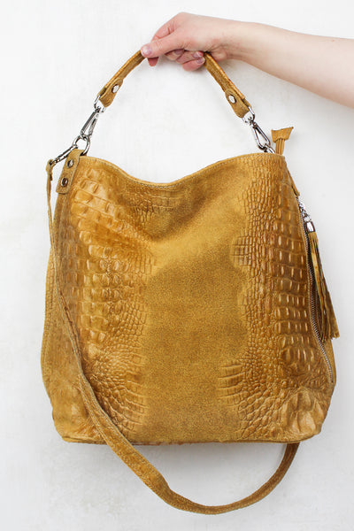 Rapture Mustard Genuine Suede Slouch Bag