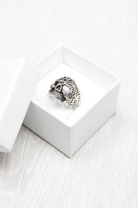 Swirl Cut Skull Ring