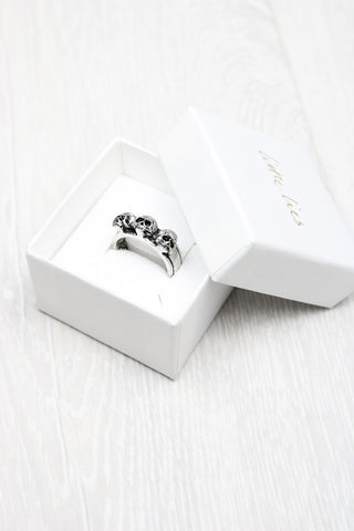 Gothic Triple Skull Band Ring