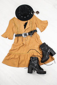 Cold Desert Tan Tea Dress