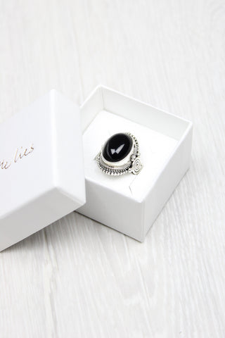 Sterling Silver Obsidian Ring