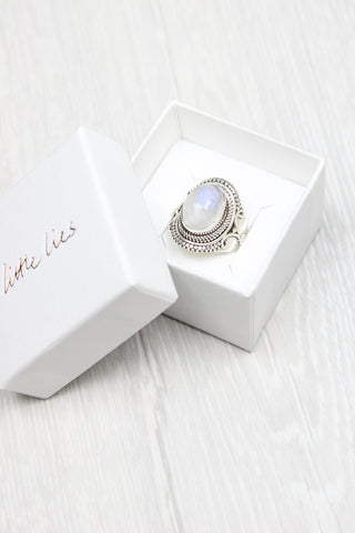 Sterling Silver Tribal Moonstone Ring