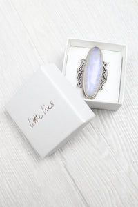 Sterling Silver Giant Moonstone Ring