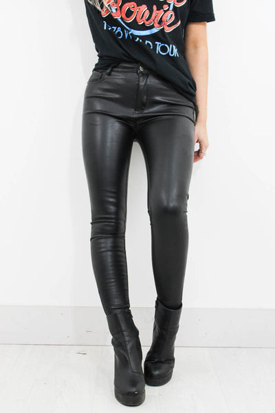 Black Treacle Leather Trousers - little-lies-uk