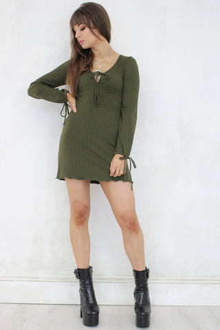 Ticket to Ride Khaki Mini Dress