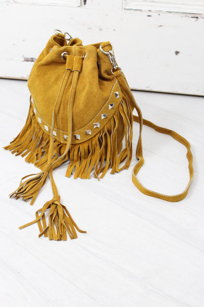 Nevada Mustard Suede Bucket Bag