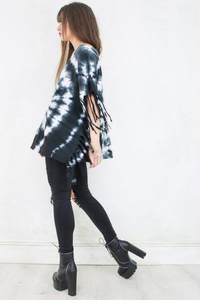 The Bandit Fringed Black Tie Dye Top