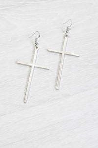 Silver Drop Cross Earrings - little-lies-uk
