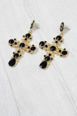 Gold + Black Gothic Cross Earrings