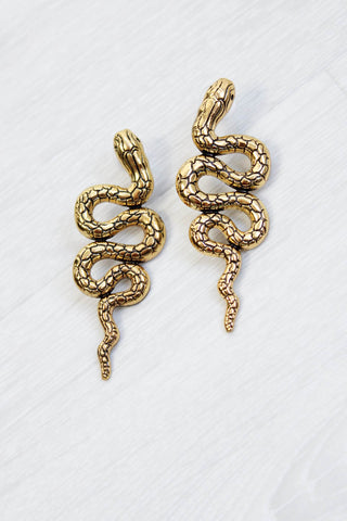 Gold Snake Earrings - little-lies-uk