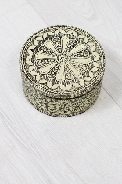 Antique Silver Circular Moroccan Trinket Box