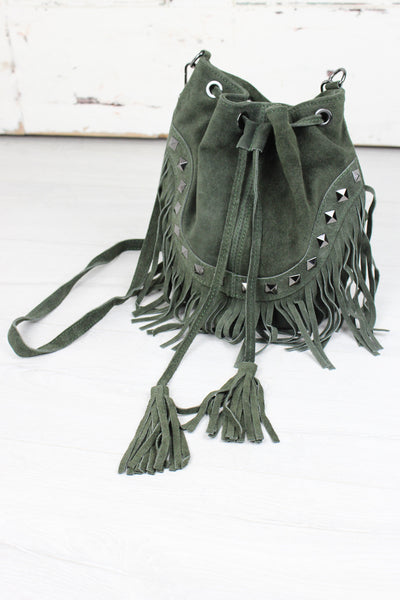 Nevada Khaki Suede Bucket Bag