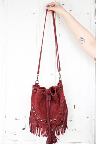 Nevada Oxblood Suede Bucket Bag