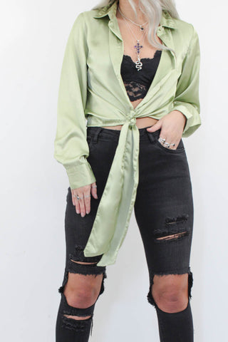Sage Silky Shirt - little-lies-uk