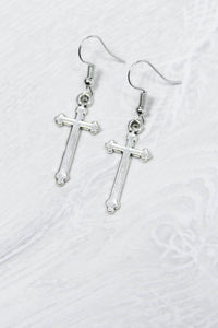 Silver Cross Drop Earrings - little-lies-uk