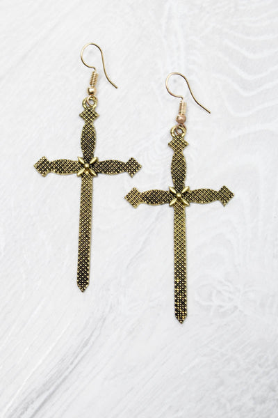 Dagger Cross Earrings - little-lies-uk