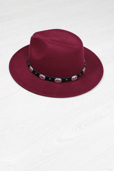Burgundy Concho Fedora - little-lies-uk