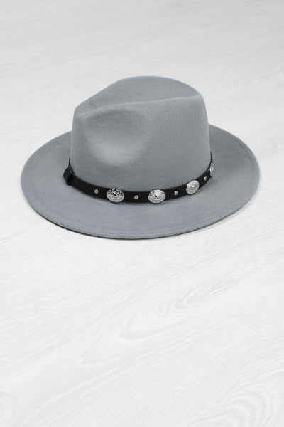 Grey Concho Fedora - little-lies-uk