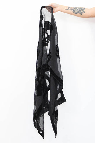 Black Devore Velvet Skull Scarf - little-lies-uk