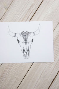 Bison Skull Print - little-lies-uk