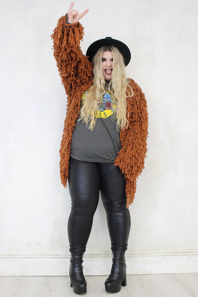 Whole Lotta Love Rust Shaggy Cardigan