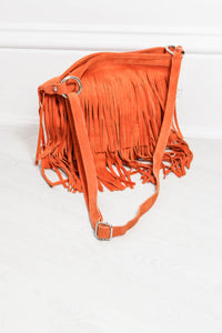 Orange Genuine Suede Fringed Bag - little-lies-uk