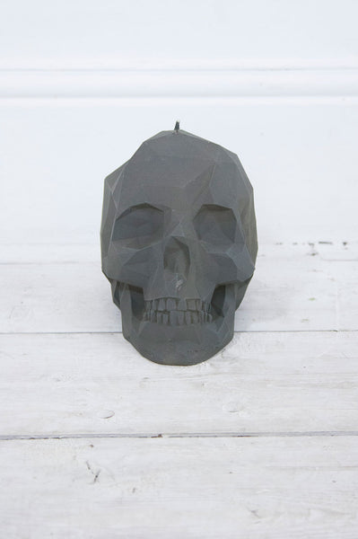 Geometric Skull Candle Grey - little-lies-uk
