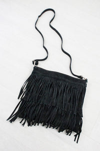 Black Genuine Suede Fringed Bag - little-lies-uk