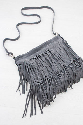 Charcoal Genuine Suede Fringed Bag - little-lies-uk