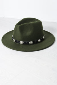 Khaki Concho Fedora - little-lies-uk