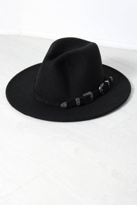 Black Western Buckle Fedora - little-lies-uk