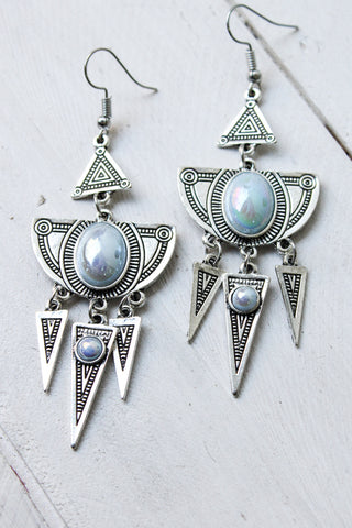 Silver Opal Tribal Drop Earrings