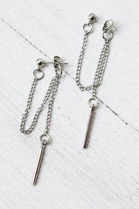 Drape Chain Bar Earrings