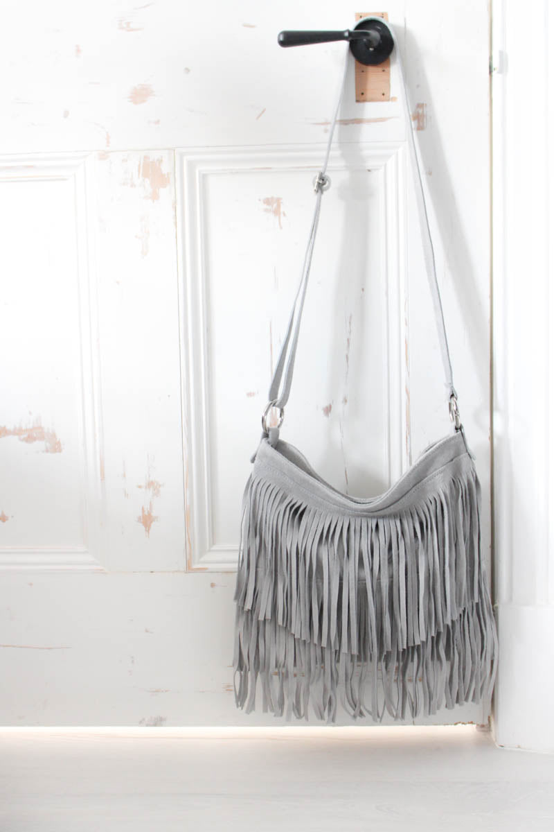 Pale Grey Genuine Suede Fringed Bag - little-lies-uk