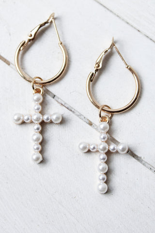 Pearl Cross Drop Earrings