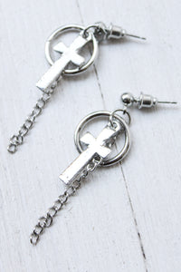 Hoop Chain Cross Earrings