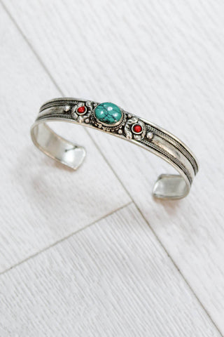 Moroccan Turquoise Stone Cuff - little-lies-uk