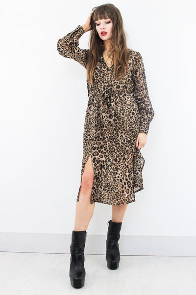 Wild Heart Leopard Midi Dress