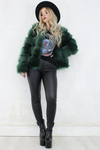 Edie Emerald Faux Fur Jacket