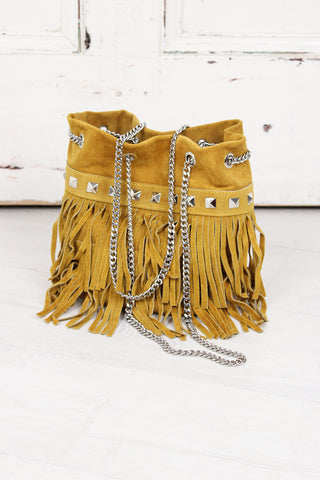 Route 66 Mustard Fringed Bag