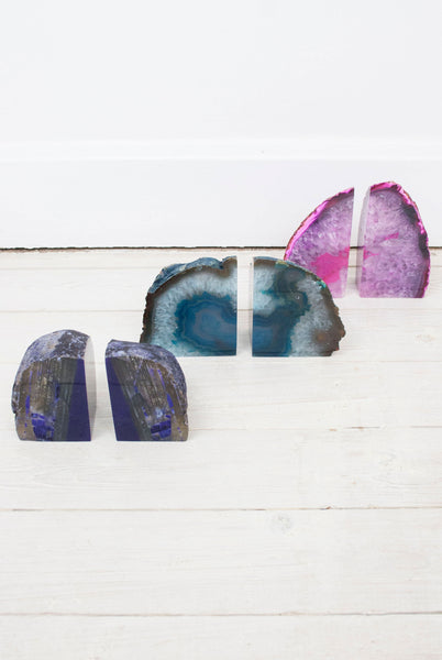 Crystal Agate Bookends Purple - little-lies-uk