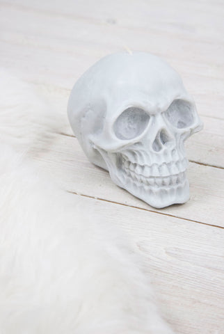 Anatomical Skull Candle | Light Grey - little-lies-uk