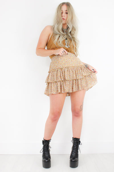 Honey Hush Floral Mini Skirt